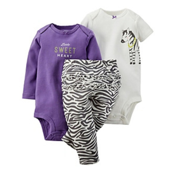 Carters Baby Girls 3-piece Microfleece Jumper Set Zebras 18M